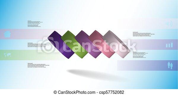 infographic, 水平に, シリンダー, こぼされる, イラスト, 薄く切られる, 部分, 5, テンプレート, 3d - csp57752082