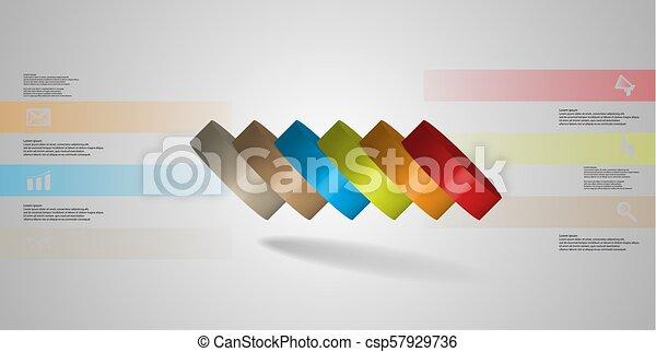 infographic, 水平に, シリンダー, こぼされる, 6, イラスト, 薄く切られる, 部分, テンプレート, 3d - csp57929736
