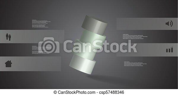 infographic, 水平に, シリンダー, 取り決められた, イラスト, 4, 部分, 斜めに, テンプレート, 薄く切られる, 3d - csp57488346