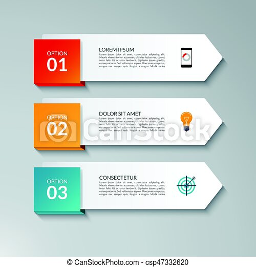 infographic arrow design template with 3 options steps parts can