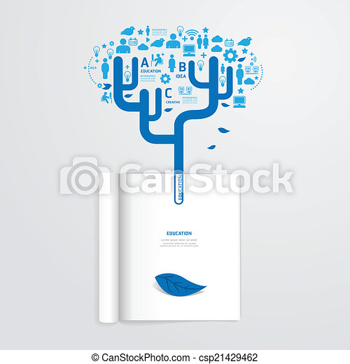 Infographic Book Open With Leaf Vector Education Clip Tree Template