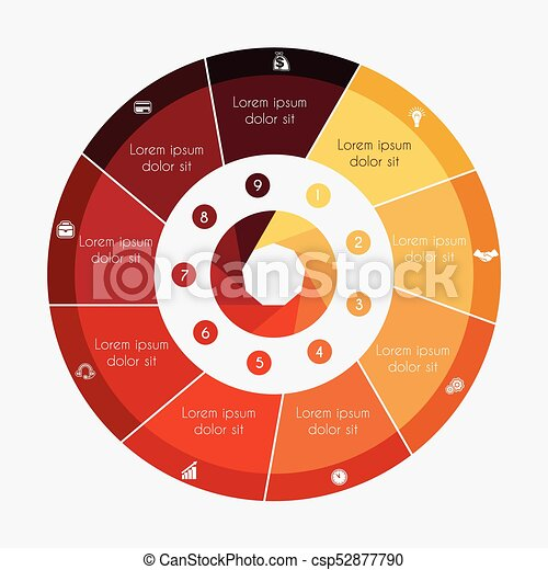 Infographic Business Pie Chart For Presentations With 9 Options