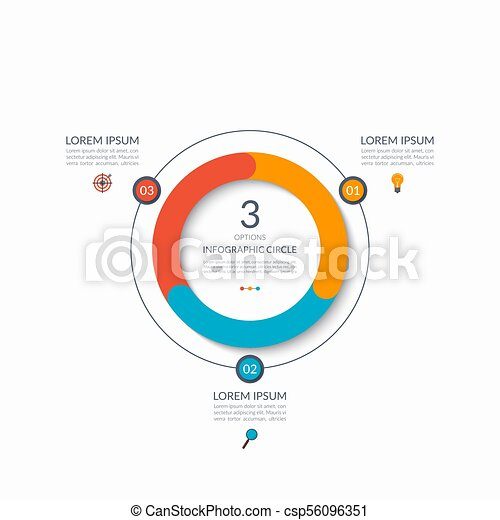 Infographic circle. 3 options, steps, parts. Business concept for diagram, graph, chart. Vector template - csp56096351