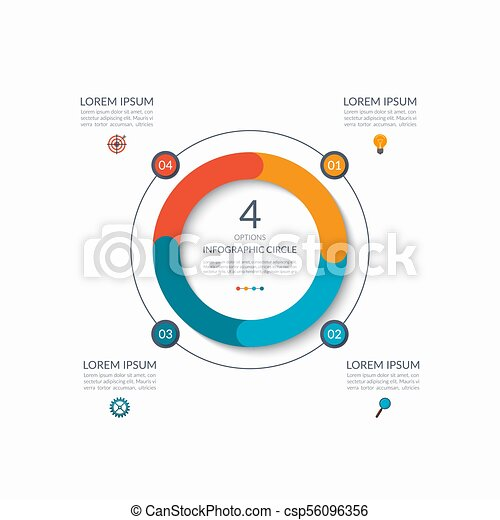 Infographic circle. 4 options, steps, parts. Business concept for diagram, graph, chart. Vector template - csp56096356