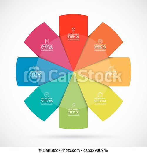 infographic circular template 8 steps vector background