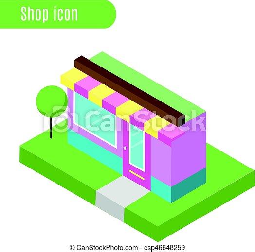 Tienda de dibujos, tienda, café. Ilustración de vectores. icono isométrico, elemento informativo de la ciudad, diseño de juegos - csp46648259