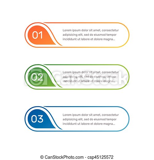 Infographic colorful numbers from 1 to 3 and text columns vector illustration. - csp45125572