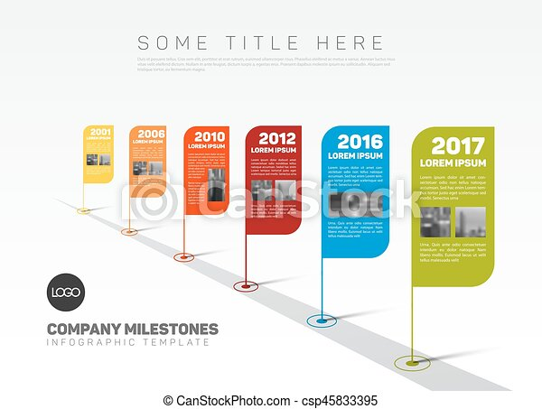 Vector Infographic Company Milestones Timeline Template With  Eps