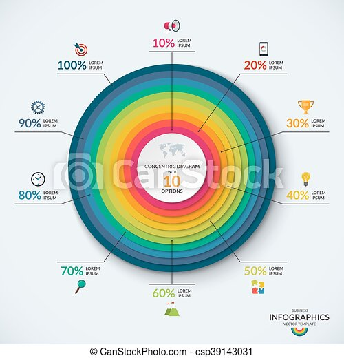 Infographic Concentric Diagram Template With 10 Options Infographic
