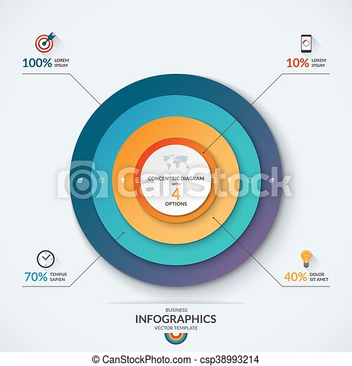 Infographic Concentric Diagram Template With 4 Options Infographic