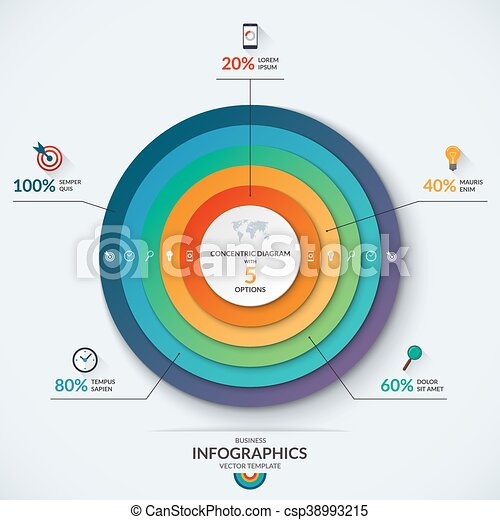 Infographic Concentric Diagram Template With 5 Options Infographic