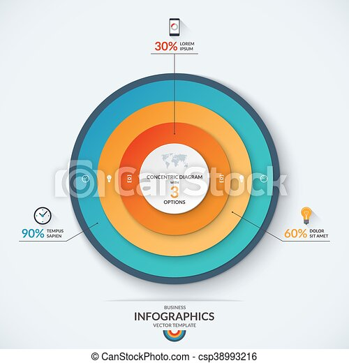 Infographic Concentric Diagram Template With 3 Options Infographic