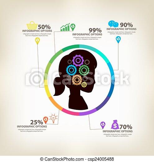infographic, concept, idées, femmes - csp24005488