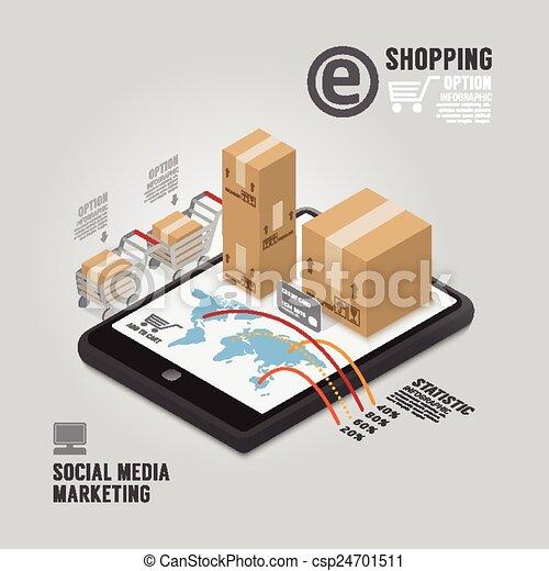 infographic, concept, média, commercialisation, illustration, vecteur, conception, gabarit, social - csp24701511