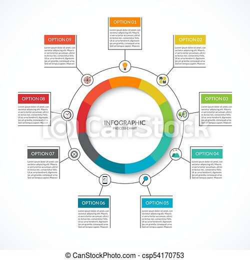 infographic cycle diagram  process chart with 9 options  vector circle  template for business infographics  can be used for graph, presentation,  report,