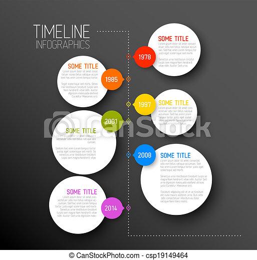 Infographic dark timeline report template - csp19149464