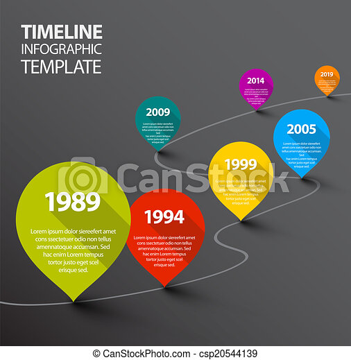 Infographic dark Timeline Template with pointers - csp20544139