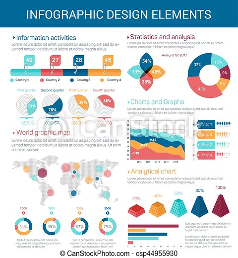 Infographic design elements with map graph chart infographic infographic design elements with map graph chart csp44955930 ccuart Images