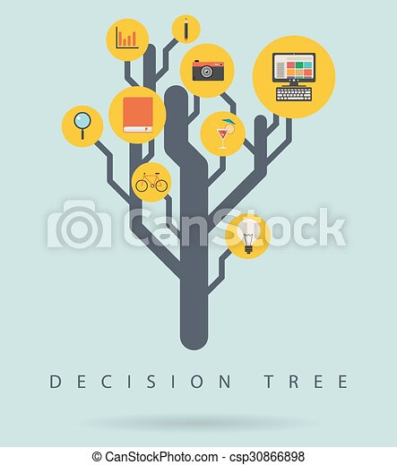 Diagrama informativo de la decisión del árbol, ilustración vectorial - csp30866898