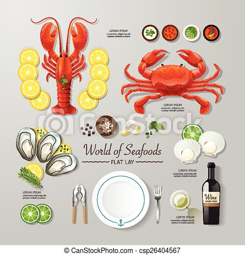 Infographic food business seafood flat lay idea. Vector illustration hipster concept. can be used for layout, advertising and web design. - csp26404567