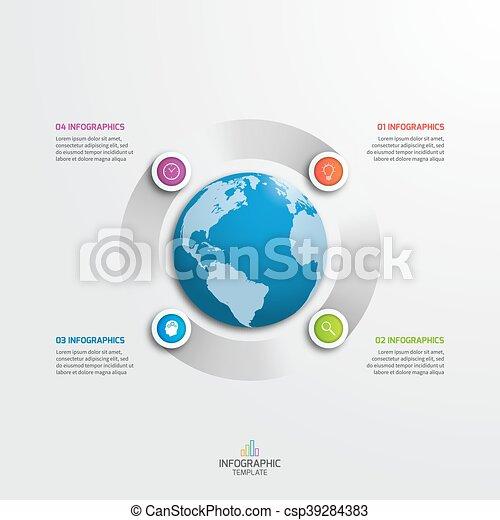 infographic, illustration., business, options., globe, vecteur, 4, gabarit, cercle, concept. - csp39284383