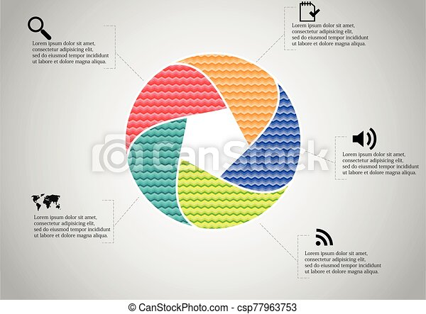 Infographic illustration vector template with shape of divided circle - csp77963753