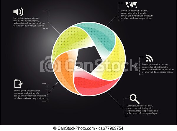 Infographic illustration vector template with shape of divided circle - csp77963754