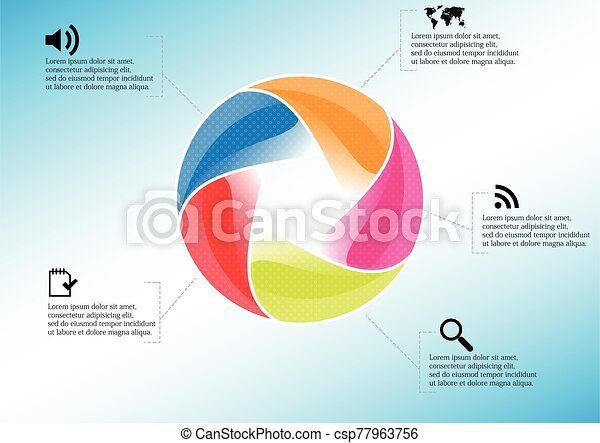 Infographic illustration vector template with shape of divided circle - csp77963756