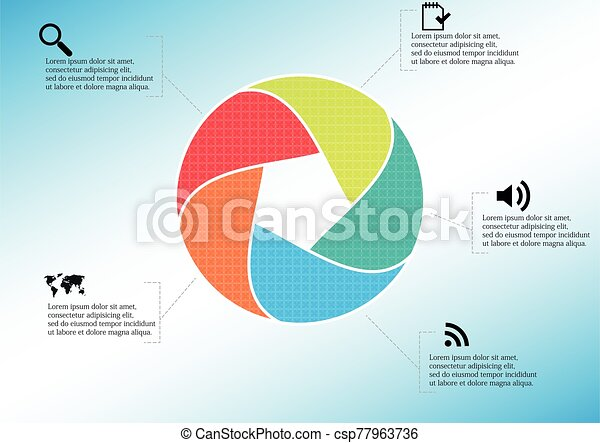 Infographic illustration vector template with shape of divided circle - csp77963736