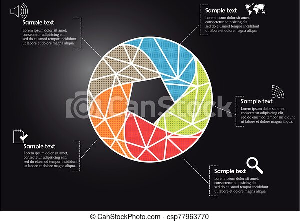 Infographic illustration vector template with shape of divided circle - csp77963770