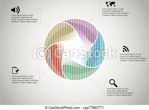 Infographic illustration vector template with shape of divided circle - csp77963771