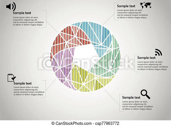 Infographic illustration vector template with shape of divided circle - csp77963772