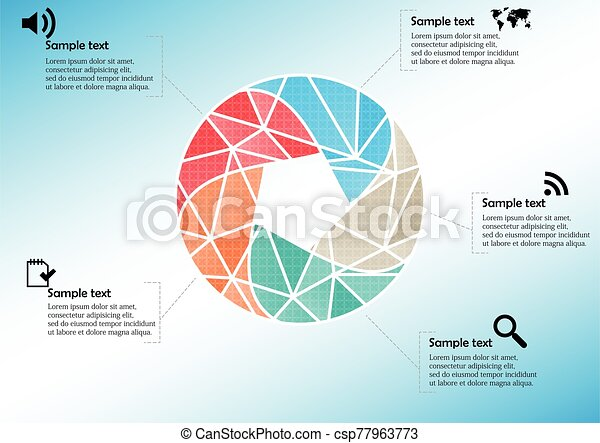 Infographic illustration vector template with shape of divided circle - csp77963773