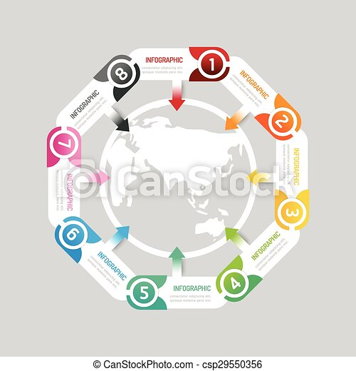 infographic modern banner button with world map icon design options vector illustration can be