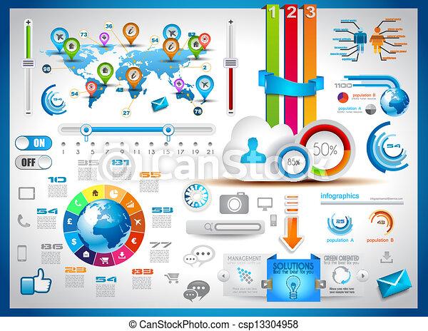 infographic, satz, etikette, -, papier, elemente - csp13304958
