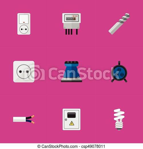 Un set de 9 iconos eléctricos. Incluye símbolos como cable, receptáculo, panel y más. Puede usarse para web, móvil, UI y diseño gráfico. - csp49078011