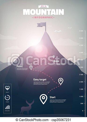 infographic, sommet montagne, illustration, polygone - csp35067231