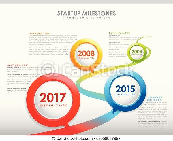 Infographic startup milestones timeline vector template maxwellsz