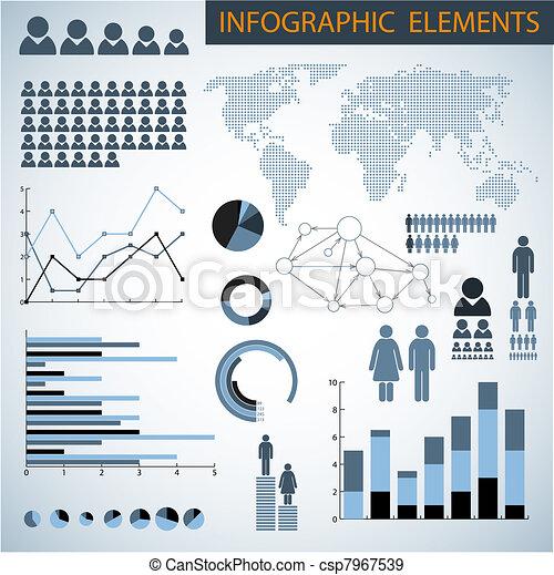 infographic, stor, vektor, sæt, elementer - csp7967539
