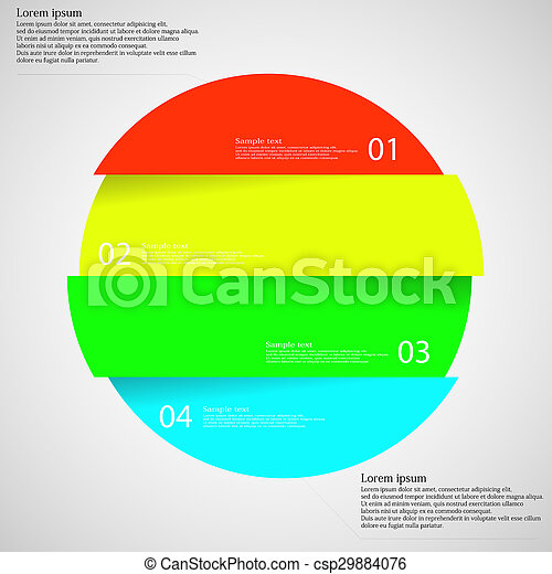 Infographic template with circle divided to four parts on light - csp29884076