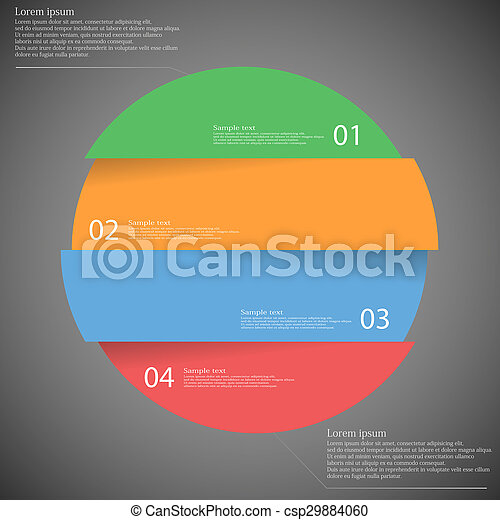Infographic template with circle divided to four parts on dark - csp29884060