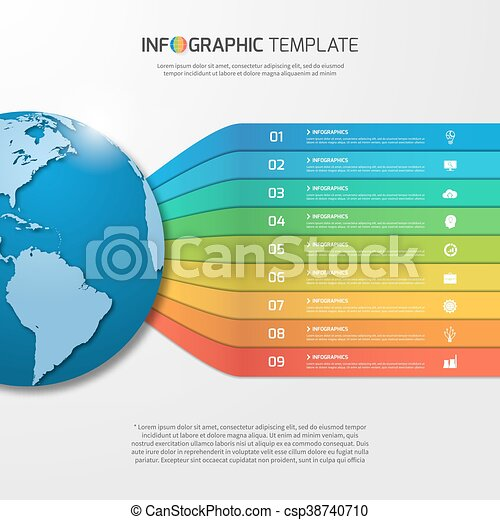 infographic template with globe with 9 options, parts, steps, processes for  graphs, charts,