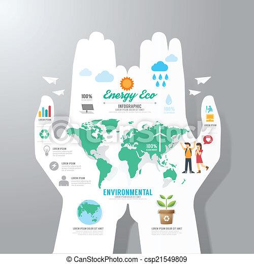 infographic Template with hand paper banner . eco concept vector - csp21549809