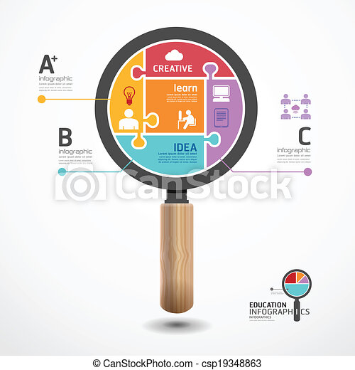 infographic Template with magnifier jigsaw banner . concept vector illustration - csp19348863