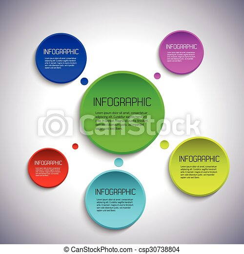 Infographic template with place for your text, colorful abstract circles - csp30738804