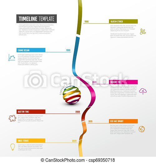 Infographic Timeline Template Vector Infographic Vertical Timeline Report Template With 3d Colored Stripe Graph Icons And Canstock