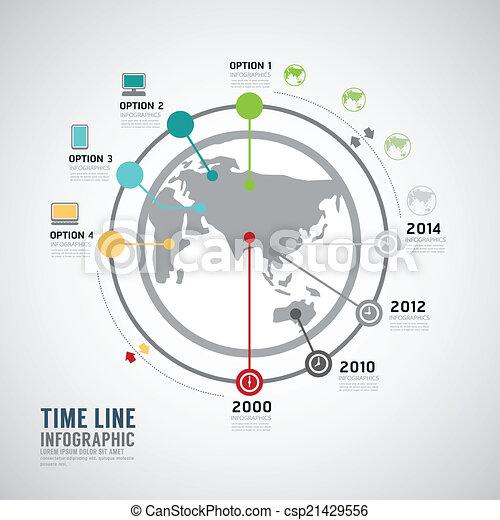 infographic, timeline, vektor, design, welt, template. - csp21429556