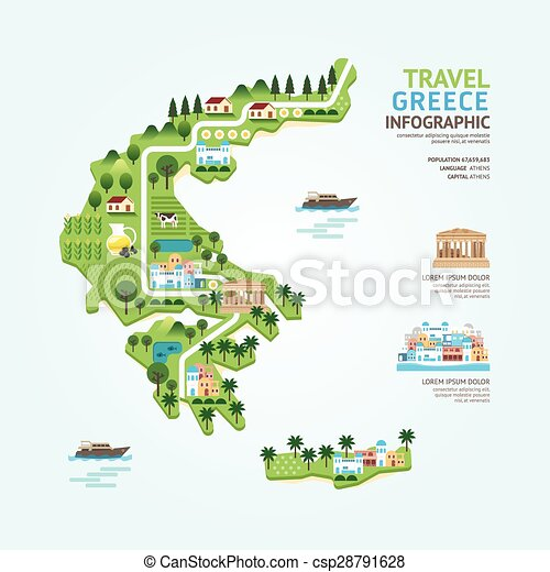 Infographic travel and landmark greece map shape template design. country navigator concept vector illustration / graphic or web design layout. - csp28791628