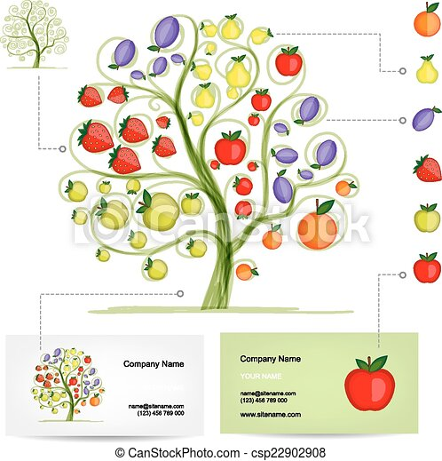 Infographic tree with fruits business card template vector infographic tree with fruits business card template csp22902908 friedricerecipe Choice Image