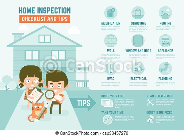 infographics about home inspection checklist and tips - csp33457270